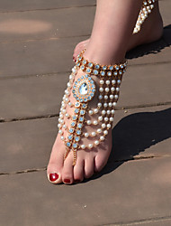 cheap -Women's Pearl Barefoot Sandals Tassel Drop Vintage Imitation Pearl Anklet Jewelry Gold / Silver For Daily Casual / Rhinestone