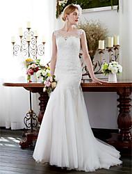 cheap -Mermaid / Trumpet Wedding Dresses Illusion Neck Court Train Tulle Sleeveless Sparkle & Shine with Beading Appliques 2021