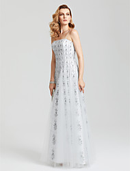 cheap -Sheath / Column Elegant & Luxurious Celebrity Style Sparkle & Shine Holiday Cocktail Party Prom Dress Spaghetti Strap Sleeveless Floor Length Tulle with Sequin 2020 / Formal Evening / Open Back