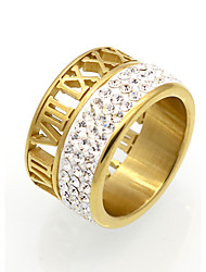 cheap -Men's Women's Band Ring Statement Ring Ring AAA Cubic Zirconia Gold Silver Cubic Zirconia Titanium Steel 18K Gold Round Geometric Statement Personalized Circular Wedding Party Jewelry Number