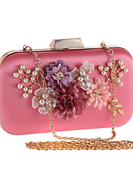 cheap -Women's Satin Flower Polyester Evening Bag Solid Colored Pale Pink / Apricot / Beige