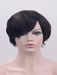 cheap -high quality silk straight natural black short hair heat resitant glueless synthetic lace front wigs