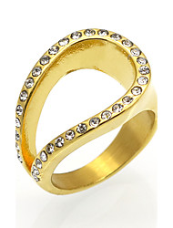 cheap -Men's Women's Band Ring Statement Ring Ring AAA Cubic Zirconia Gold Silver Cubic Zirconia Titanium Steel 18K Gold Round Geometric Statement Personalized Circular Wedding Party Jewelry