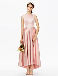 cheap -A-Line Bateau Neck Asymmetrical Satin Bridesmaid Dress with Sash / Ribbon / Pleats