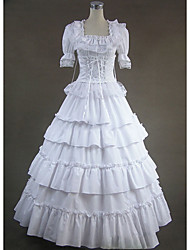 cheap -Gothic Victorian Medieval 18th Century Dress Party Costume Masquerade Women's Lace Cotton Costume White Vintage Cosplay Party Prom Short Sleeve Floor Length Plus Size Customized