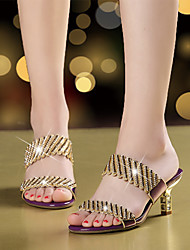 cheap -Women's Sandals Stiletto Heel Open Toe Rhinestone / Sparkling Glitter Microfiber Walking Shoes Summer / Fall Gold / Black / Purple / Club Shoes / Party & Evening / EU39
