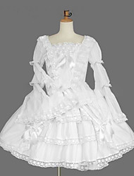 cheap -Princess Gothic Lolita Dress Women's Girls' Japanese Cosplay Costumes Plus Size Customized White Ball Gown Vintage Cap Sleeve Long Sleeve Knee Length