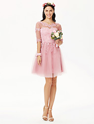 cheap -A-Line Jewel Neck Knee Length Tulle / Floral Lace Bridesmaid Dress with Appliques / Pleats / Illusion Sleeve / Open Back