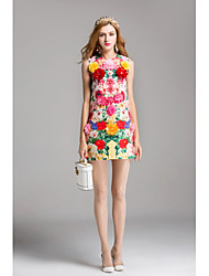 cheap -Women's Floral Party / Daily / Going out A Line Dress Flower / Print Spring Pink M L XL