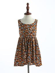 cheap -Girls' Floral Lattice Print Sleeveless Cotton Dress Khaki