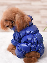 cheap -Dog Coat Jumpsuit Jacket Winter Dog Clothes Warm Black Red Dark Blue Costume Down Cotton Solid Colored Casual / Daily Keep Warm XS S M L XL XXL