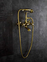 cheap -Bathtub Faucet - Artistic / Vintage Style Gold Tub And Shower Ceramic Valve Bath Shower Mixer Taps