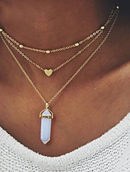 cheap -Women's Turquoise Natural Stone Pendant Necklace Heart Ladies Unique Design everyday Alloy Pink Light Blue Light Green Necklace Jewelry For Wedding Party Special Occasion Birthday Engagement Daily