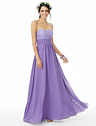cheap -A-Line Sweetheart Neckline Floor Length Chiffon / Lace Bridesmaid Dress with Lace / Sash / Ribbon / Ruched / Open Back