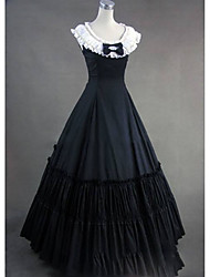 cheap -Rococo Victorian 18th Century Dress Party Costume Masquerade Women's Cotton Costume Black Vintage Cosplay Sleeveless Floor Length Plus Size Customized