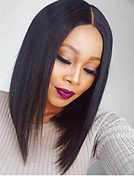 cheap -Remy Human Hair Unprocessed Human Hair Glueless Full Lace Full Lace Wig style Brazilian Hair Straight Yaki Wig 130% Density with Baby Hair Natural Hairline African American Wig 100% Hand Tied Women's