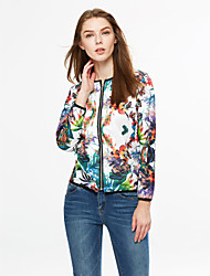 cheap -Women's Going out Active Spring / Fall Short Jacket, Floral Round Neck Long Sleeve White