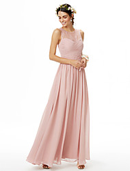 cheap -A-Line Jewel Neck Floor Length Chiffon / Lace Bridesmaid Dress with Lace / Criss Cross / Ruched / See Through