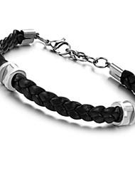 cheap -Men's Leather Bracelet Geometrical woven Vintage Punk Rock Fashion Hip-Hop PU Leather Bracelet Jewelry Black For Birthday Training Dailywear Sports Outdoor Athletic Sport / Stainless Steel