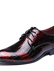 cheap -Men's Dress Shoes Bullock Shoes Derby Shoes Spring / Fall Business / Classic / British Wedding Party & Evening Office & Career Oxfords Walking Shoes Leather Wear Proof Black / Red / Blue / EU40
