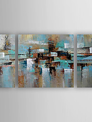 cheap -Oil Painting Hand Painted - Abstract Abstract Modern Contemporary Stretched Canvas / Three Panels