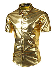 cheap -Men's Solid Colored Basic Slim Shirt Luxury Sexy Party Club Classic Collar Black / Purple / Gold / Royal Blue / Silver / Summer / Short Sleeve