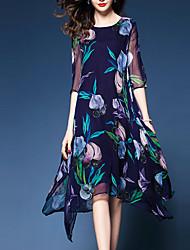cheap -Women's Plus Size Midi Dress Chiffon - Half Sleeve Floral Print Going out Floral Blue M L XL XXL XXXL
