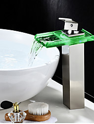 cheap -Bathroom Sink Faucet - Waterfall / LED Indicator Nickel Brushed Centerset Single Handle One HoleBath Taps / Brass
