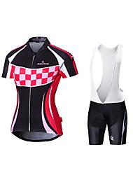 cheap -Malciklo Women's Short Sleeve Cycling Jersey with Bib Shorts White Stripes British Bike Jersey Bib Tights Padded Shorts / Chamois Breathable Quick Dry Anatomic Design Reflective Strips Back Pocket