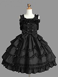 cheap -Princess Gothic Lolita Punk Dress JSK / Jumper Skirt Women's Girls' Cotton Japanese Cosplay Costumes Plus Size Customized Black Ball Gown Solid Color Fashion Cap Sleeve Sleeveless Short / Mini