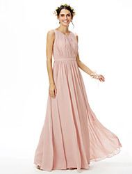 cheap -A-Line Jewel Neck Floor Length Chiffon Bridesmaid Dress with Sash / Ribbon / Side Draping / Pleats