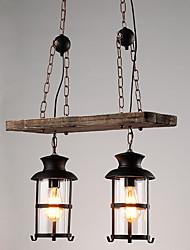 cheap -2-Light 20 cm Mini Style Pendant Light Wood / Bamboo Glass Painted Finishes Retro 110-120V / 220-240V