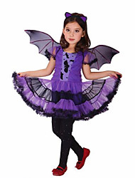 cheap -Witch Cosplay Costume Halloween Props Party Costume Girls' Female Movie Cosplay Purple Dress Halloween Carnival Children's Day Polyester