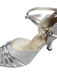 cheap -Women's Dance Shoes Sparkling Glitter Latin Shoes Sandal Customized Heel Customizable Navy / Almond / Red / Black / Indoor / EU41