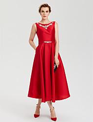 cheap -A-Line Elegant Open Back Evening Party Formal Dress Jewel Neck Sleeveless Tea Length Satin with Rhinestone Crystal Sash / Ribbon 2021