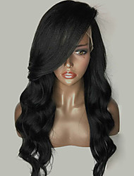 cheap -Remy Human Hair Glueless Lace Front Lace Front Wig Side bangs style Brazilian Hair Loose Wave Wig 150% Density with Baby Hair Natural Hairline African American Wig 100% Hand Tied Women's Short Medium