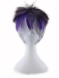 Недорогие -Парики из искусственных волос Прямой Прямой силуэт Ассиметричная стрижка Парик Короткие Фиолетовый Искусственные волосы Жен. Природные волосы Фиолетовый