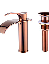 cheap -Single Handle Bathroom Sink Faucet,Rose Golden One Hole Waterfall,Oil-rubbed Cooper with Drain and Brass Faucet Body with Hot and Cold Water and Pop-up Drain