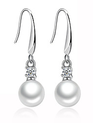 cheap -Women's AAA Cubic Zirconia Drop Earrings Ladies Geometric Unique Design Sterling Silver Imitation Pearl Earrings Jewelry Silver For Wedding Party Daily Casual