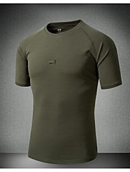 cheap -Men's Camo Hiking Tee shirt Outdoor Breathable Quick Dry Sweat-Wicking Top Spring Summer Running Hunting Exercise & Fitness Army Green Black