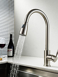 cheap -Kitchen faucet - Single Handle One Hole Nickel Brushed Pull-out / Pull-down / Tall / High Arc Centerset Contemporary Kitchen Taps