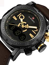 cheap -Men's Sport Watch Military Watch Wrist Watch Japanese Digital Genuine Leather Black / Orange / Brown 30 m Water Resistant / Waterproof Creative Dual Time Zones Analog - Digital Luxury Vintage Casual