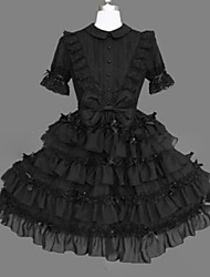 cheap -Princess Gothic Lolita Punk Dress Girls' Cotton Japanese Cosplay Costumes Plus Size Customized Black Ball Gown Vintage Cap Sleeve Short Sleeve Short / Mini / Gothic Lolita Dress