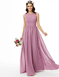 cheap -A-Line Jewel Neck Floor Length Chiffon Bridesmaid Dress with Sash / Ribbon / Ruched / Pleats / Open Back
