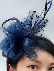 cheap -Tulle Blusher Veils / Fascinators / Hats with Feather 1 Event / Party / Horse Race Headpiece
