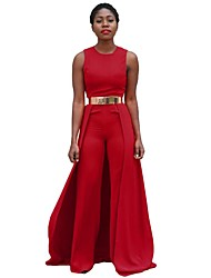 cheap -Women's Wide Leg Daily Red Jumpsuit Onesie, Solid Color / Fashion Pure Color M L XL High Rise Sleeveless Spring Summer