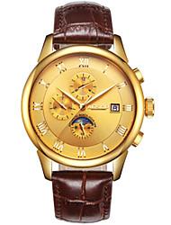 Недорогие -Муж. Модные часы Механические часы С автоподзаводом Кожа Коричневый 30 m Аналоговый Золотой Белый