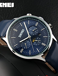 cheap -Men's Sport Watch Fashion Watch Dress Watch Quartz Genuine Leather Multi-Colored 50 m Water Resistant / Waterproof Calendar / date / day Cool Analog Charm Elegant - White Black Blue