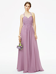 cheap -A-Line Halter Neck Floor Length Chiffon / Corded Lace Bridesmaid Dress with Appliques / Ruched / Pleats