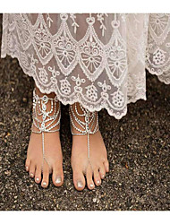 cheap -Women's Pearl Barefoot Sandals Drop Fashion Imitation Pearl Anklet Jewelry Gold / Silver For Daily Casual / Rhinestone